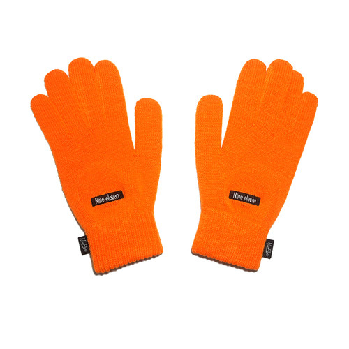 Basic logo knitted gloves - Orange [40% 할인]