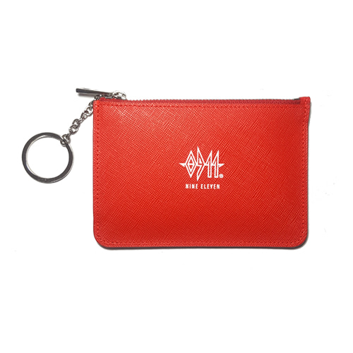 [60%]Leather Card Wallet - Red