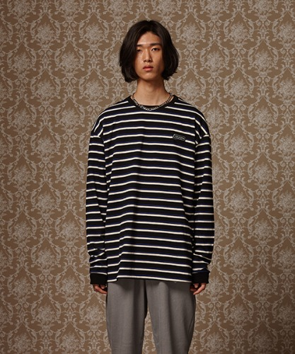 [재입고완료] MULTI STRIPE LONG SLEEVE T - WHITE/BLUE/BLACK
