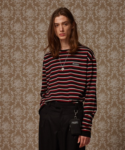 MULTI STRIPE LONG SLEEVE T - RED/BLACK/WHITE