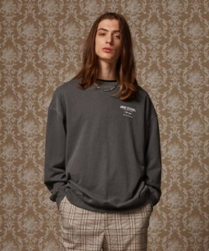 PIGMENT WASHED CREWNECK (CHARCOL)